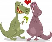 picture of dinosaur  - Valentines Day Cartoon Illustration of Funny Dinosaurs in Love - JPG