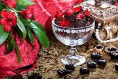 pic of casket  - luxury chocolates in a still life with beads and gold casket - JPG