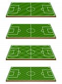 stock photo of offside  - Set of Football Fields 3D Perspective 3 Diagonal Patterns - JPG
