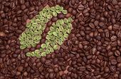picture of green bean  - Coffee bean made of green coffee on the background of coffee beans - JPG