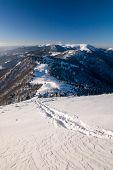 stock photo of blue ridge mountains  - Sunny winter morning on a mountain ridge under the blue sky  - JPG