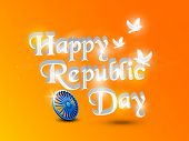 foto of ashoka  - Glossy text Happy Republic Day with 3D Ashoka Wheel and pigeons on orange and yellow background - JPG