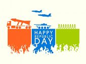 stock photo of indian culture  - Happy Indian Republic Day celebration with Indian Force strength - JPG