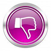image of dislike  - dislike violet icon thumb down sign  - JPG