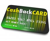 stock photo of borrower  - Cash Back Card words on a credit card to illustrate incentives and money bonuses on a plastic charge account when you spend or borrow funds on loan - JPG