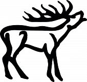 stock photo of roebuck  - Vector illustration of  black silhouette stag on white background - JPG
