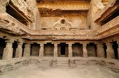 picture of ellora  - View of ancient Buddhist cave temples at Ellora Maharashtra India  - JPG