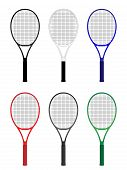 stock photo of deuce  - Tennis Rackets in Different Colours Black White Blue Red Gray Green - JPG