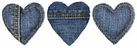foto of stitches  - Jeans Heart Shape Patch Object with Stitches Seam Decorative Fabric Joint Isolated White Background Valentines Day Textile Icon - JPG
