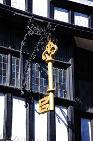 picture of nod  - Gold Key on the front of The House of the Golden Key also knows as the House of Nodding Gables along the High Street Tewkesbury Gloucestershire England UK Western Europe - JPG