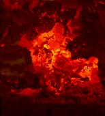 stock photo of ember  - Hot embers in a fireplace - JPG