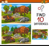 image of brain teaser  - Cartoon Illustration of Finding Differences Educational Game for Preschool Children with Wild American Mammals - JPG