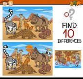 picture of brain teaser  - Cartoon Illustration of Finding Differences Educational Game for Preschool Children with Wild African Mammals - JPG