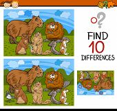 picture of brain teaser  - Cartoon Illustration of Finding Differences Educational Game for Preschool Children with Rodents Animals - JPG