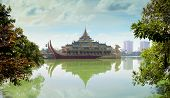 stock photo of buffet  - Karaweik a concrete replica of a Burmese royal barge on Kandawgyi Lake in Yangon Myanmar - JPG