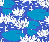 stock photo of water lilies  - Vintage water lily seamless pattern - JPG