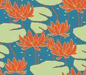 stock photo of water lily  - Vintage water lily seamless pattern - JPG