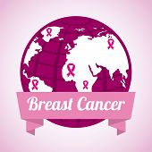 image of world health organization  - Breast cancer design over white background - JPG