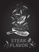 picture of flavor  - Hand drawn steak flavor quotes illustration on black chalkboard - JPG