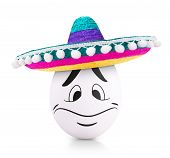 stock photo of egg whites  - White Easter Egg in sombrero isolated on white - JPG