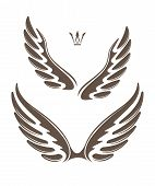 foto of spread wings  - Two pair of decorative vector wings with crown - JPG