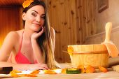 stock photo of sauna woman  - Spa beauty treatment and health concept - JPG