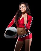 picture of karts  - Young girl racer with helmet isolated - JPG