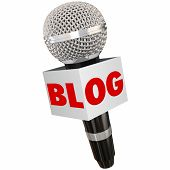foto of communication  - Blog word on a microphone to illustrate speaking your opinion through website columns - JPG