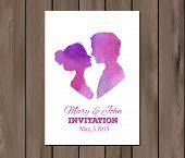 stock photo of ombre  - Wedding invitation with watercolor elements and profile silhouettes of man and woman - JPG