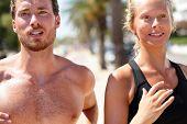 foto of cardio  - Man and woman runners portrait closeup  - JPG