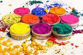 picture of holi  - Overhead shot of Indian Holi festival colours - JPG