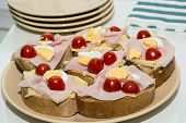 picture of tomato sandwich  - Sandwiches with egg cheese ham and cherry tomatoes - JPG