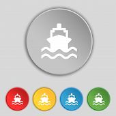 stock photo of brigantine  - ship icon sign - JPG