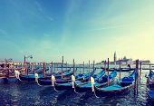 stock photo of gondola  - Gondolas on Grand Canal and San Giorgio Maggiore church in Venice - JPG