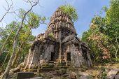 pic of hindu  - Hindu sanctuary situated name Ta Krabey stone castle under sunlight - JPG