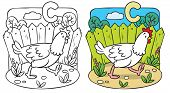 Постер, плакат: Funny chicken coloring book Alphabet C