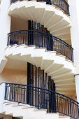 pic of spiral staircase  - Spiral staircase on the outside facade of the house - JPG
