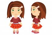 pic of dark side  - A brown haired girl seen from the front and side wearing a red skirt and dark red blouse - JPG