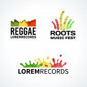 picture of reggae  - Set of reggae roots music equalizer logo emblem vector elements - JPG