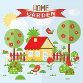 pic of bird fence  - Vector garden illustration in flat style - JPG