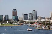 foto of long beach  - Long Beach Harbor and city downtown skline on a sunny Sunday afternoon - JPG