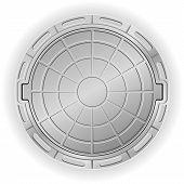 foto of manhole  - closed manhole vector illustration isolated on white background - JPG