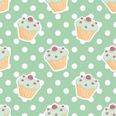 stock photo of mint-green  - Tile vector pattern with cupcakes and polka dots on mint green background for seamless decoration wallpaper - JPG