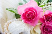 pic of mother-of-pearl  - fresh pink  roses with lace and pearls - JPG