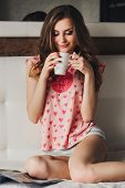 picture of pajamas  - girl with long hair in beautiful  pajamas - JPG