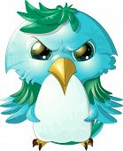 image of angry bird  - pretty angry bird painted on a white background - JPG