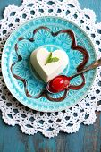image of dessert plate  - Tasty panna cotta dessert on plate - JPG