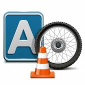 stock photo of taper  - Driving school concept of  vehicle category A with wheel - JPG