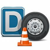 stock photo of taper  - Driving school concept of  vehicle category D with wheel - JPG
