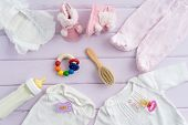 stock photo of teething baby  - Collection of items for babies shot from above - JPG
